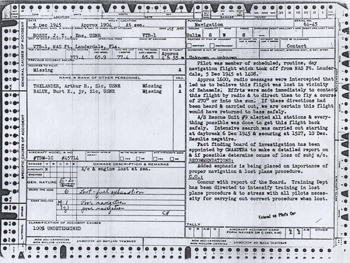 Image of Ensign J. T. Bossi, USNR - Official Accident Report