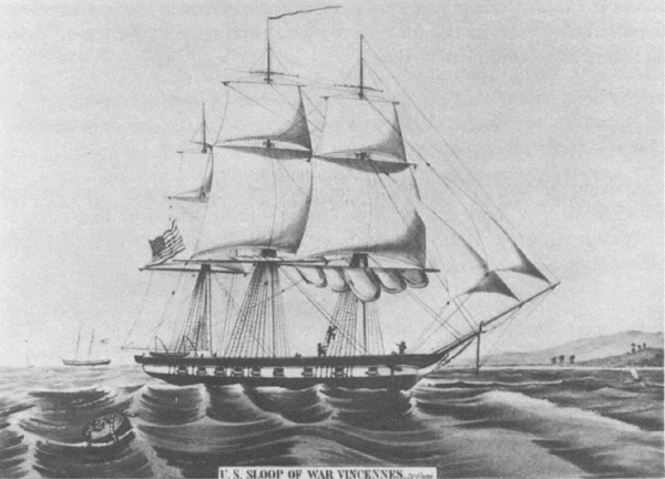U.S. Sloop of War Vincennes, circa 1845.