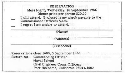 Sample reservation card for Mess Night
