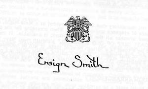 Sample place card with emblem and name Ensign Smith.