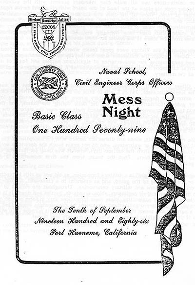 Example of Mess Night program cover.