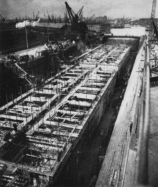 Image of some caissons under construction in British yards.