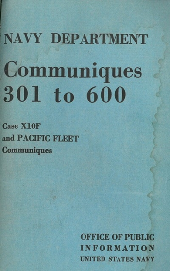 Cover image - Navy department Communiques 301 to 600