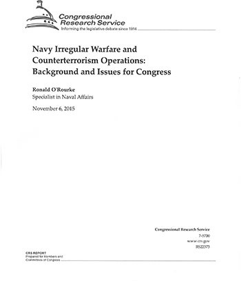 Navy Irregular Warfare and Counterterrorism Operations:Background and Issues for Congress November 6, 2015 cover image