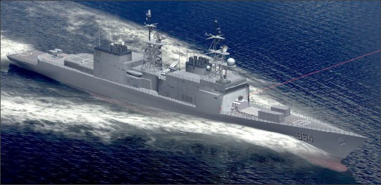 Figure 4. Laser Weapon System Demonstrator (LWSD) on Self Defense Test Ship - Artist's rendering