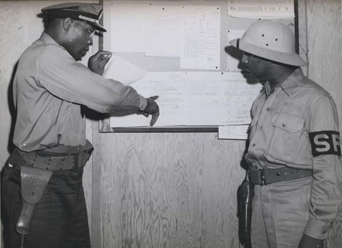 """'Negro Officers in Naval Reserve now on duty outside US.' - First Negro officers of the US Naval Reserve are now on duty outside the continental United States, a group having recently arrived in Pearl harbor to serve in the Fourteenth Naval District."""