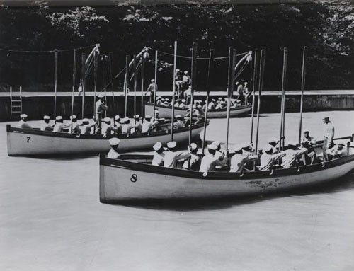 """Boat drill at US Naval Training Station Great Lakes, Illinois."""