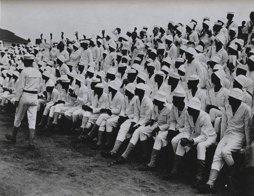"""A baseball crowd, US Naval Training Station Great Lakes, Illinois."""