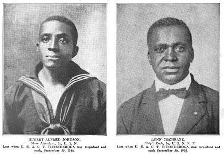 Two portraits: Hubert Alfred Johnson (mess attendant) and Lynn Cochrane (cook), lost when USACT Ticonderoga was torpedoed and sunk 30 September 1918