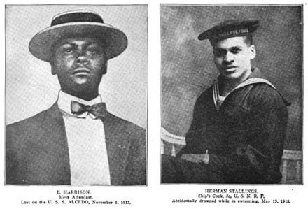 Two portraits: E. Harrison (mess attendant) lost on the USS Alcedo 5 November 1917 and Herman Stallings (cook) accidently drowned while swimming 19 May 1918