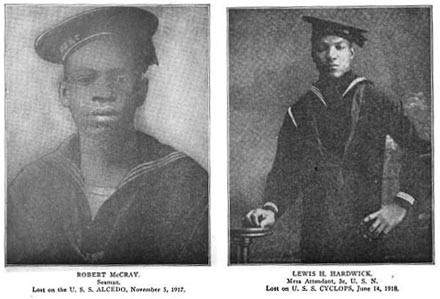 Two portraits: Robert McCray (Seaman) lost on the USS Alcedo 5 November 1917 and Lewis H. Hardwick (mess attendant) lost on the USS Cyclops 14 June 1918