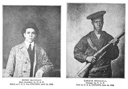 Two portraits: Henry McCorkle (mess attendant) killed on USS Von Steuben 10 April 1918 and Earle Whitesell (fireman) lost on USS Cyclops 14 June 1918