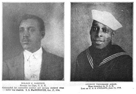 Two portraits: Wilson C. Sampson (fireman) commended for seamanlike conduct and services rendered SS MacDonough 27 October 1914 and Andrew Theodore Askin (mess attendant) lost on USS Cyclops 14 June 1918