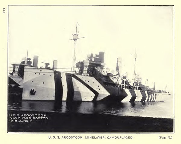 USS Aroostook, minelayer, camouflaged.