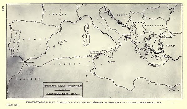 Photostatic chart, showing the proposed mining operations in the Mediterranean Sea.