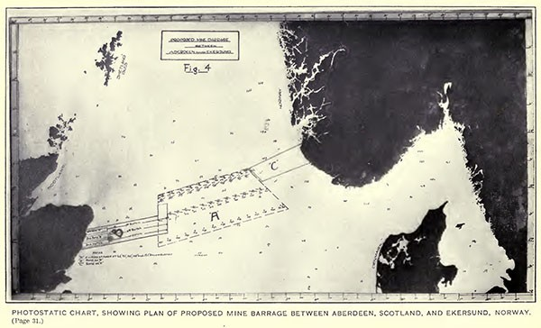 Photostatic chart, showing plan of proposed mine barrage between Aberdeen, Scotland, and Ekersund, Norway.