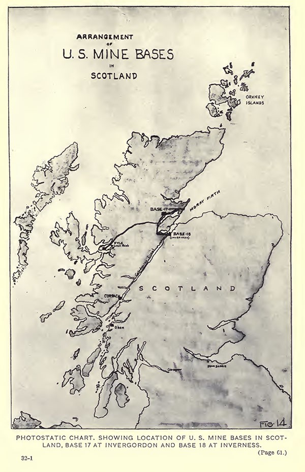 Photostatic chart, showing location of US Mine Bases in Scotland, Base 17 at Invergordon and Base 18 at Inverness.