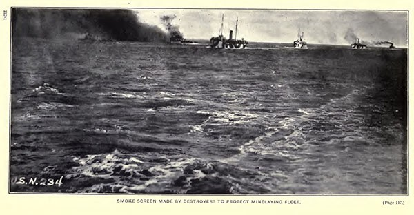Smoke screen made by destroyers to protect minelaying fleet.