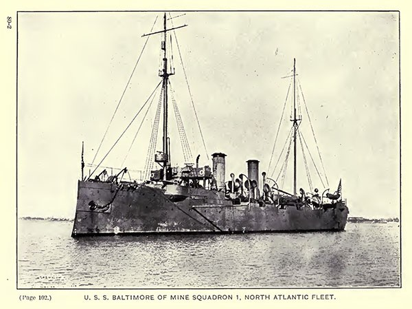 USS Baltimore of Mine Squadron 1, North Atlantic Fleet.