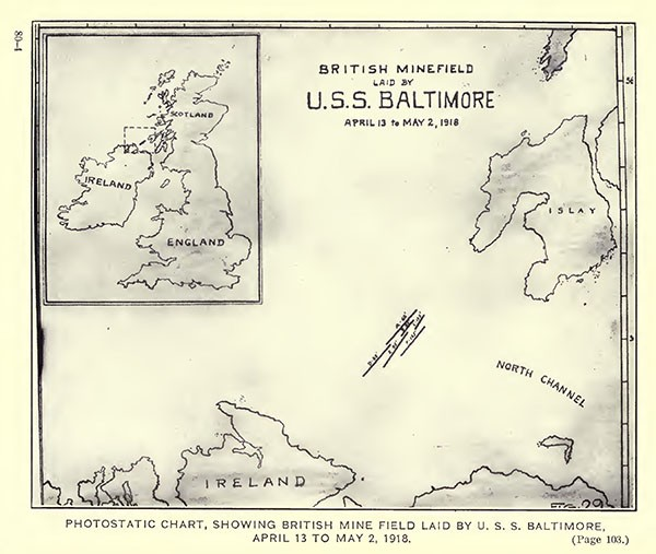 Photostatic chart, showing British mine field, laid by USS Baltimore, April 13 to May 2, 1918.