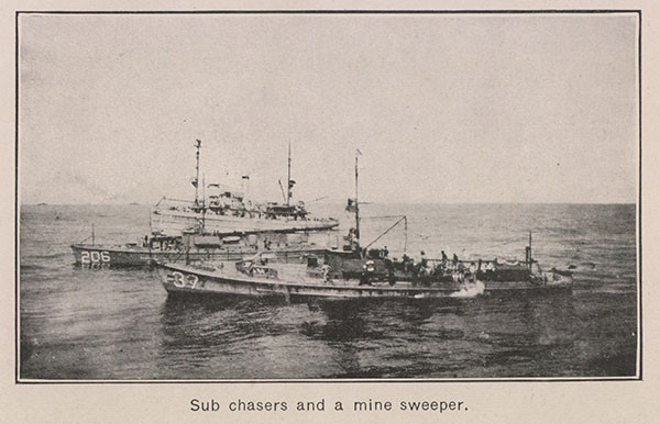 Sub chasers and a mine sweeper.