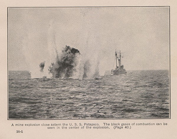 A mine explosion close astern the U. S. S. Patapsco. The black gases of combustion can be seen in the center of the explosion. (Page 40.)