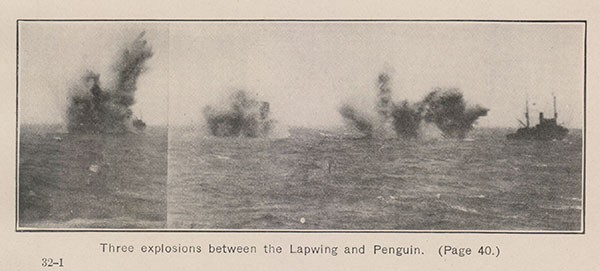 Three explosions between the Lapwing and Penguin. (Page 40.)