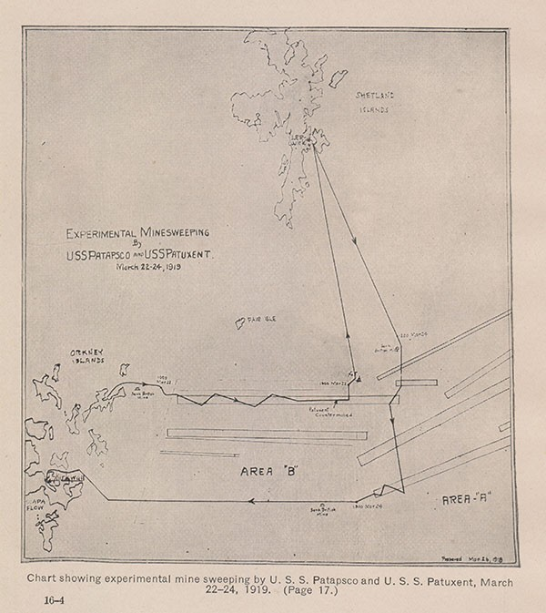 Chart showing experimental minesweeping by U. S. S. Patapsco and U. S. S. Patuxent March 22-24, 1919. (Page 17.)
