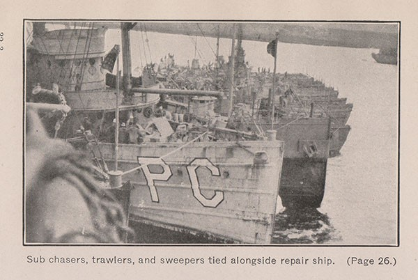 Sub chasers, trawlers, and sweepers tied alongside repair ship. (Page 26.)