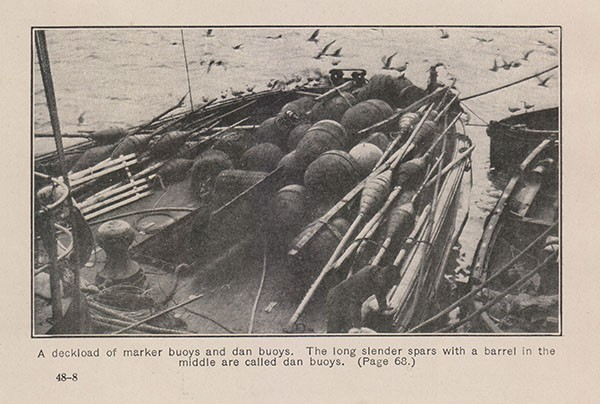 A deckload of marker buoys and dan buoys. The long slender spars with a barrel in the middle are called dan buoys. (Page 68.)