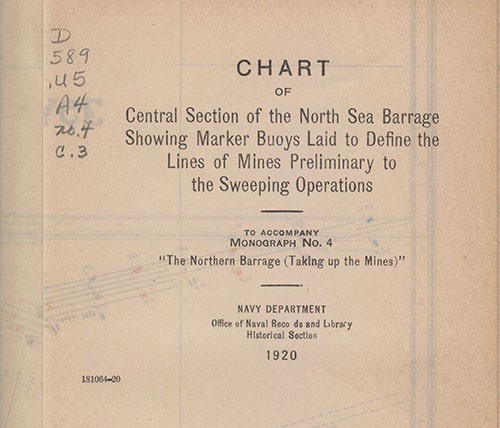 Chart of Central Section of North Sea Barrage Cover Sheet.
