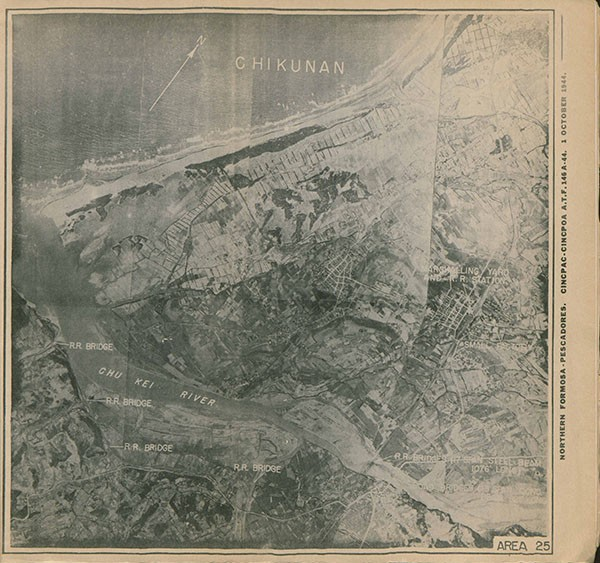 Aerial Map: Chikunan, showing bridges, marshaling yard and rail road station.
