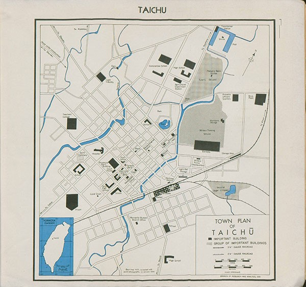 Map: Taichu, Town Plan of Taichu showing important buildings, group of important buildings, and railroads.