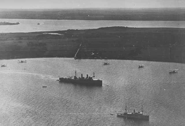 Shawmut, Sandpiper, and flying boats enroute to Hampton Roads to participate in bombing experiments off Virginia Capes, April 1921.