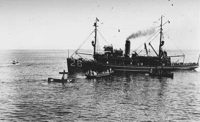 Lieutenant Colonel Culver being picked up by the minesweeper Rail between Cape Henry and Cape Charles Light Vessel during the bombing experiments, 1921.