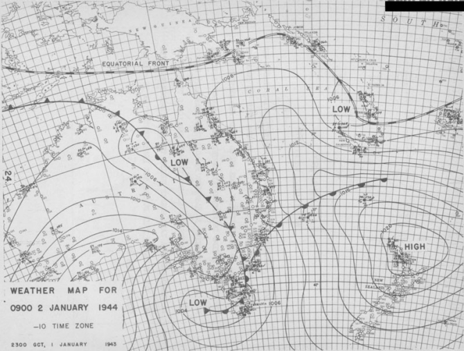 Weather map for 0900 2 January 1944.