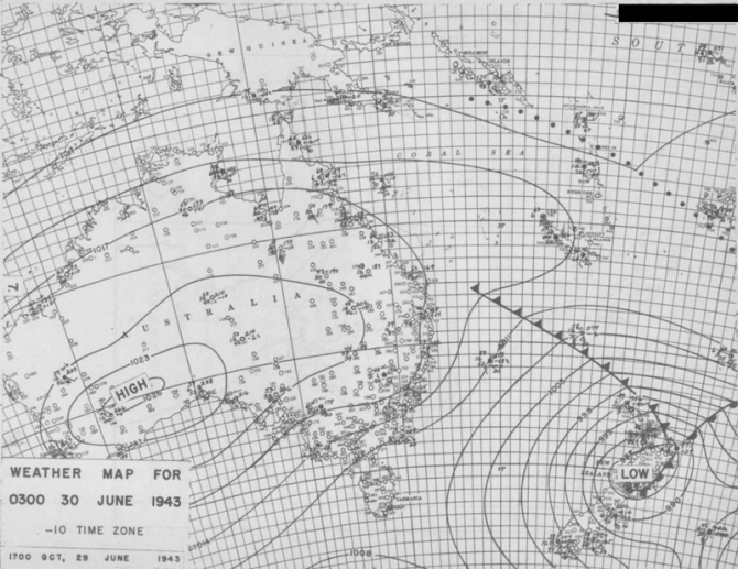 Weather map for 0300, 30 June 1943.