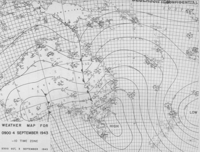 Weather map for 0900, 4 September 1943.