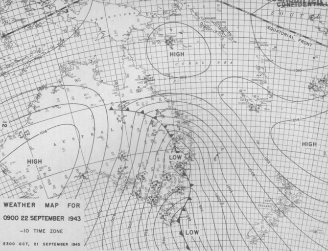 Weather map for 0900, 22 September 1943.