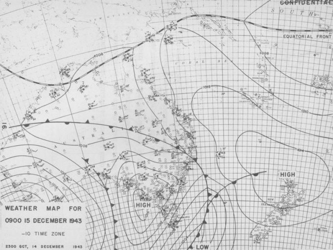 Weather map for 0900 15 December 1943.