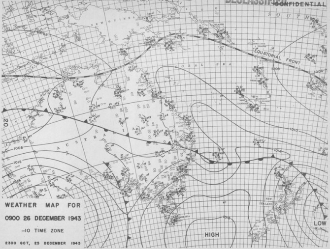 Weather map for 0900 26 December 1943.