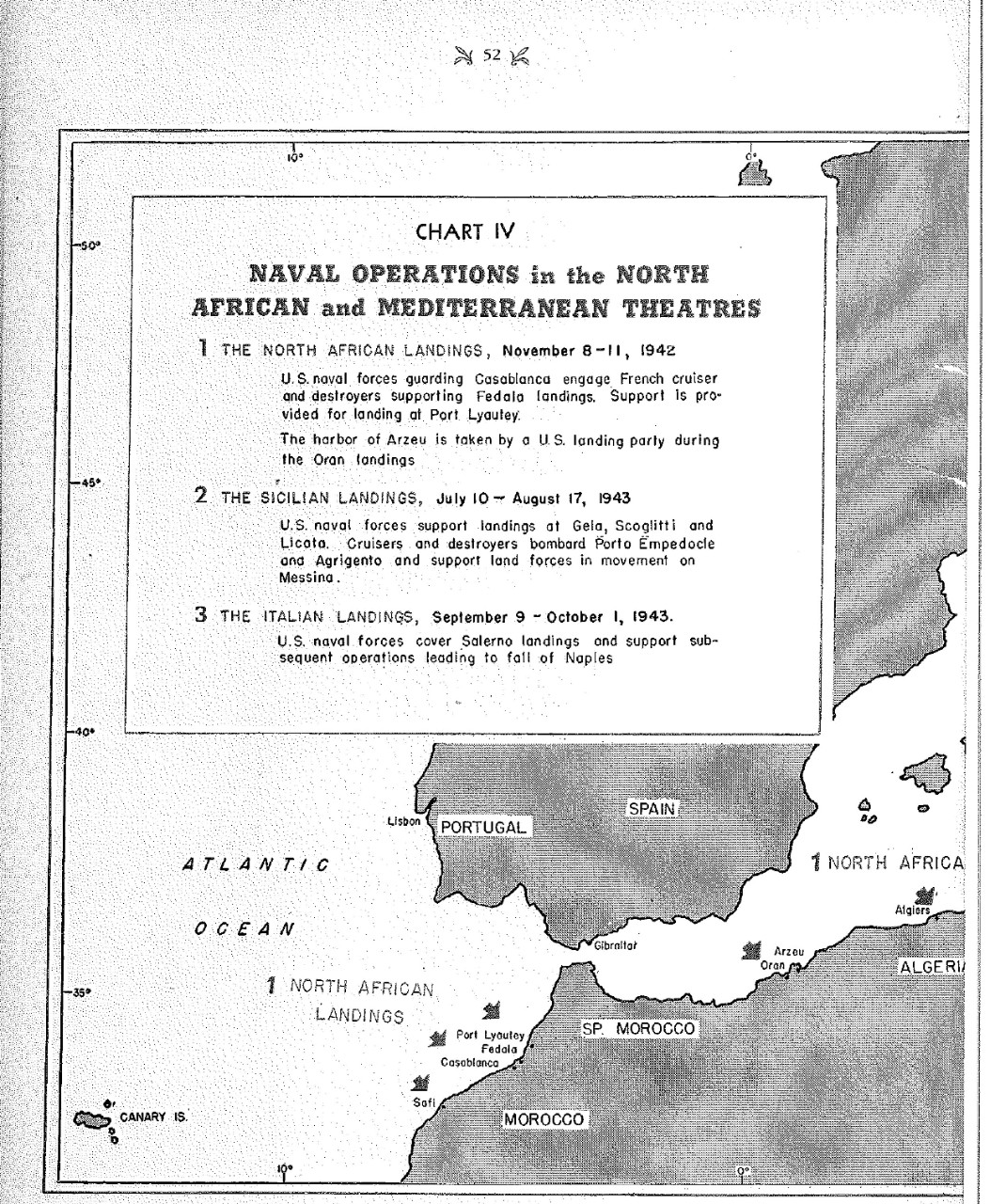 <p>Naval Operations in the North African and Mediterrranean Theatres, Chart IV&nbsp;</p>