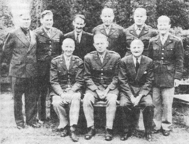 Seated: A.J. McGrail, W. Preston Corderman, William F. Friedman. Standing: Mark W. Rhoads, Solomon Kullback, John B. Hurt, Edward J. Vogel, Frank B. Rowlett, Abraham Sinkov.