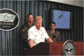 Incident Commander James Schwartz at a press conference on 14 September 2001.