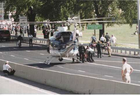 Evacuating injured by helicopter.
