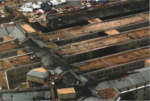 The burnt roof of the Pentagon on 14 September 2001.