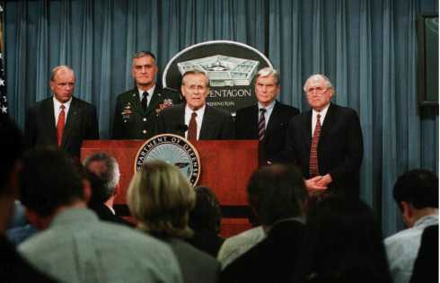 Secretary Rumsfeld at his Pentagon press conference the evening of 11 September, with (left to right) Secretary of the Army Thomas White, Chairman of the Joint Chiefs of Staff General Hugh Shelton, Sen. John Warner (R-Va.), and Sen. Carl Levin (D-Mich.).