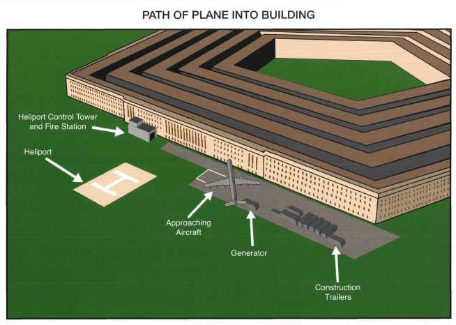Path of plane into building.
