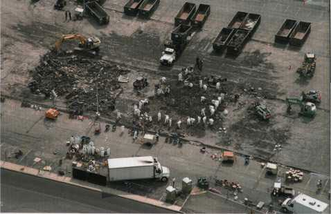 Debris sifting operations in North Parking.