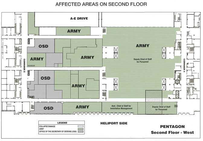 Affected areas on second floor.